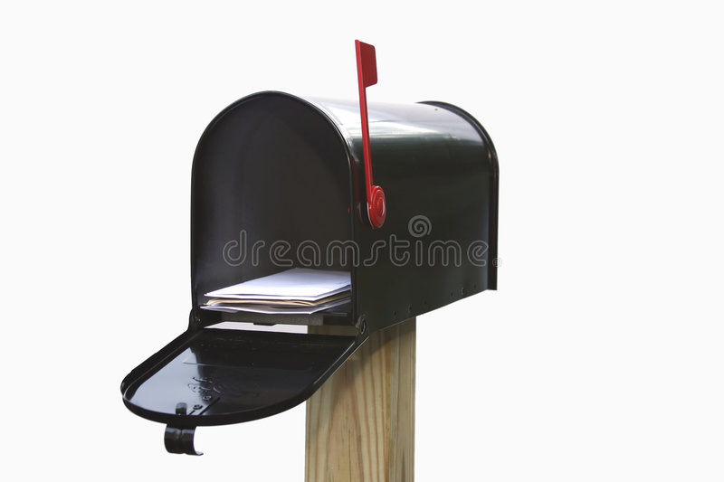 You've Got Mail. Mail Box open containing mail (with the flag up