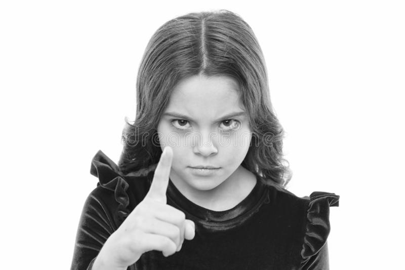 You are warned. Girl kid threatening with fist isolated on white. Strong temper. Threatening with physical attack. Kids. Aggression concept. Aggressive girl royalty free stock photo