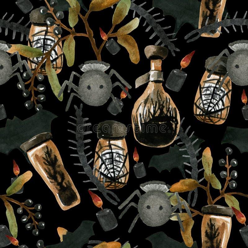 Watercolor seamless pattern on the theme of Halloween, stock illustration