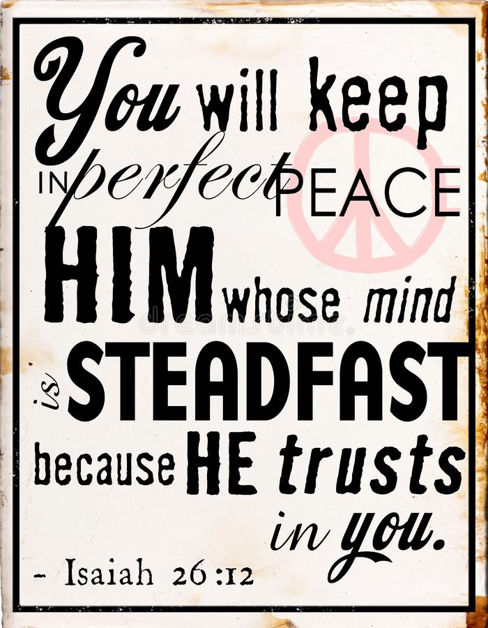 You will keep in perfect peace him whose mind. Tin sign  psalms peace isaiah  you will keep in perfect peace vector illustration