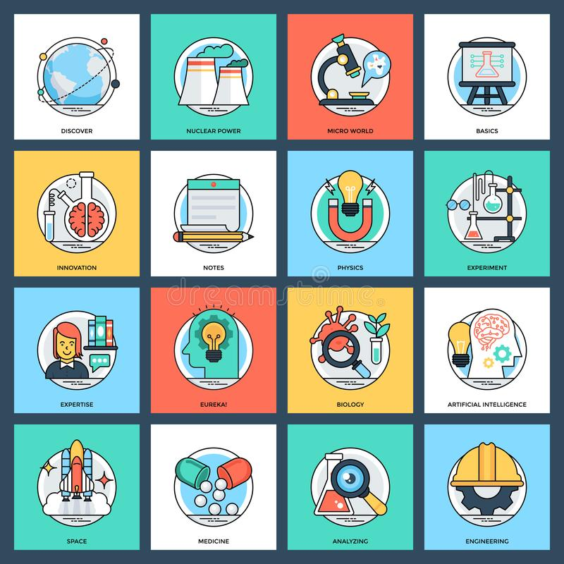 Pack of Science and Technology Flat Vector Icons royalty free illustration