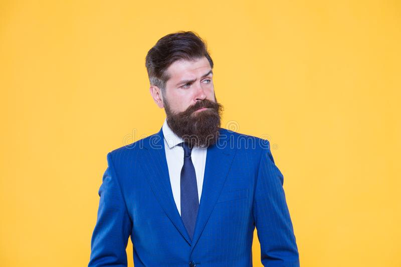 Because you worth it. businessman formal suit. mature bearded man ceo. successful and charismatic boss. leadership. Concept. improve yourself in business royalty free stock photography