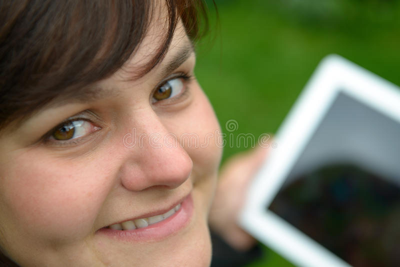 Download Yougn woman with tablet pc stock photo. Image of hand - 25982798