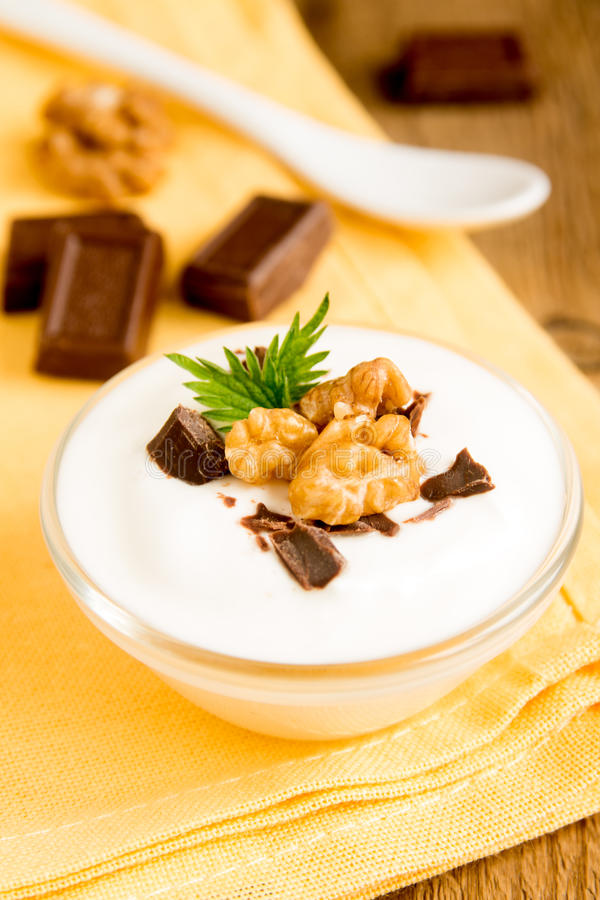 Yougurt with chocolate and nuts stock photography