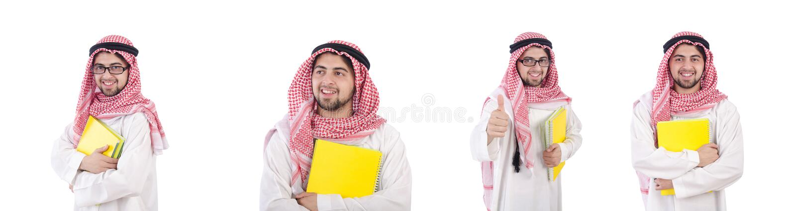 Youn arab student isolated on white. The youn arab student isolated on white stock photo