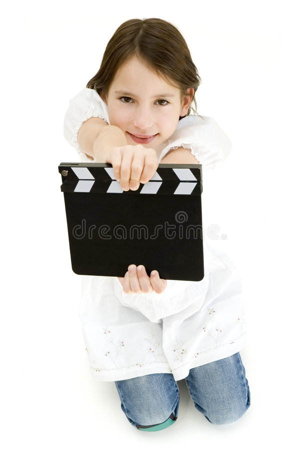 Download Youn Girl Holding A Movie Clapper Stock Image - Image: 7104177