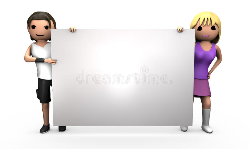 Young 3D Couple Holding Large Blank Sign. Young Professional 3D Couple Holding Large Blank Business Card vector illustration