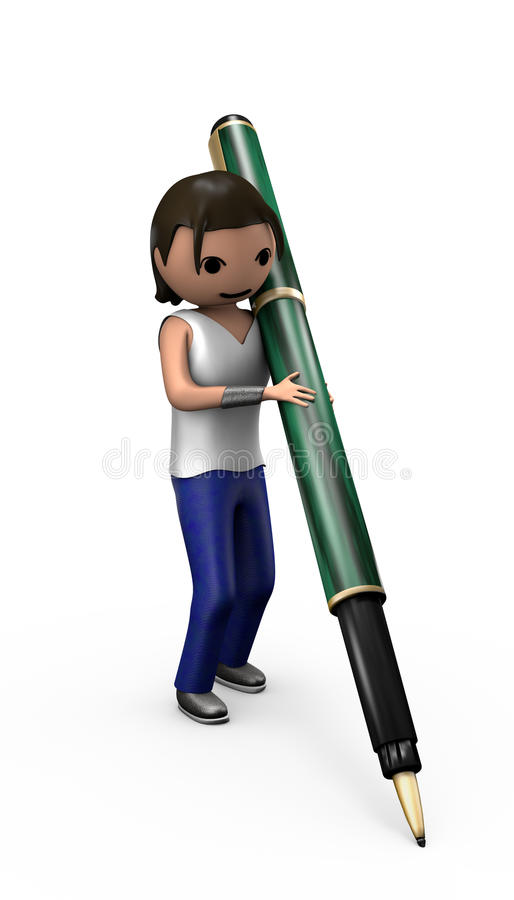 Young 3d Male with Ballpoint Pen. Posed to Sign document vector illustration