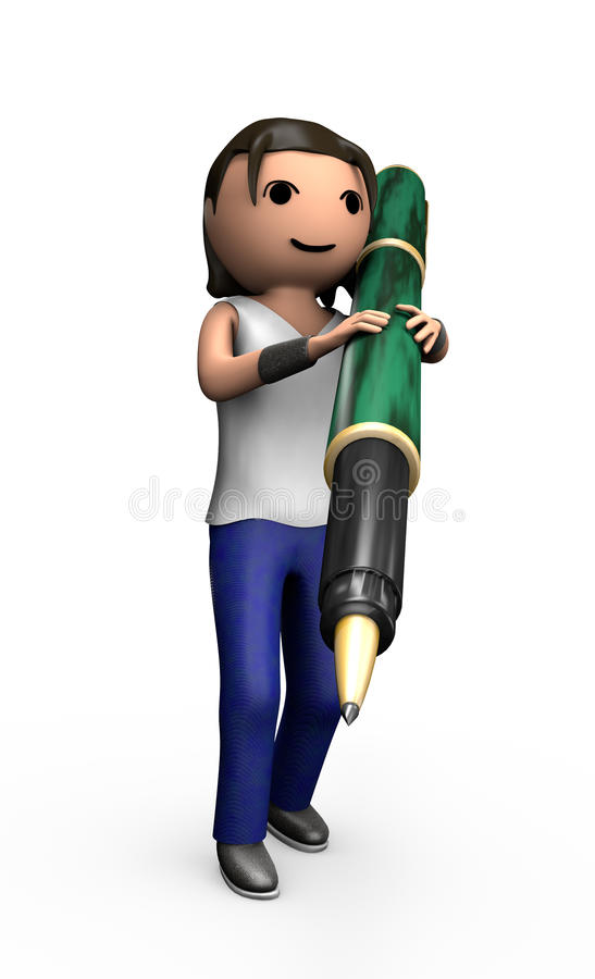 Young 3d Male Carrying Pen. Young 3d Male with Ballpoint Pen Carrying Pen on Shoulder vector illustration