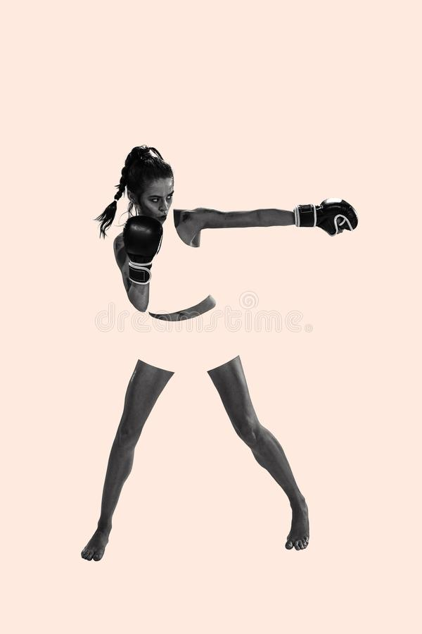 Fit beautiful woman with the boxing gloves, creative collage stock image