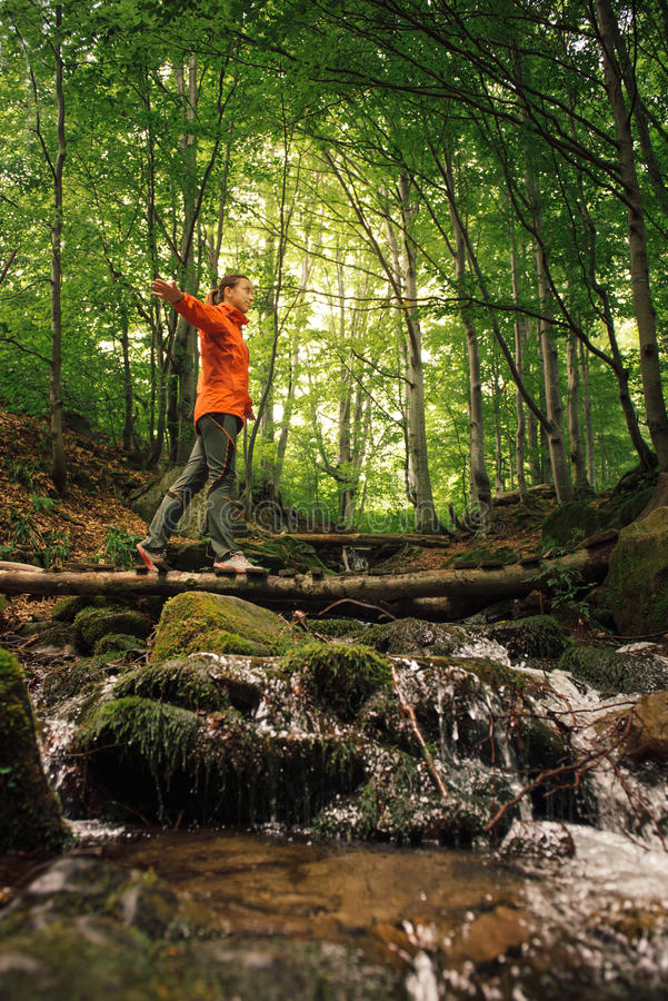 Download Young Active Woman Hiking In Green Forest Stock Image - Image: 83702653
