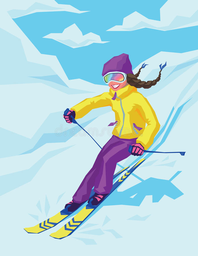 Young active woman skiing in mountains. Female skier on the background of snowy landscape. Ski race for adults. Winter and snow sport in alpine resort. Vector royalty free illustration
