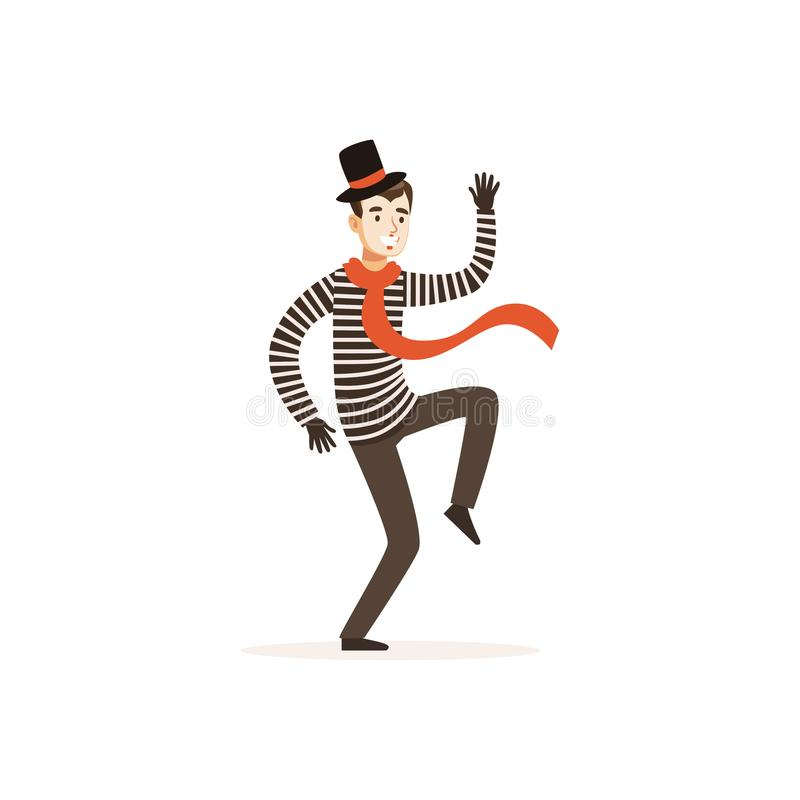 Young actor of mime theater. In action. Funny painted face, top hat, striped jacket, black gloves. Pantomime performance. Colorful cartoon comedian character royalty free illustration