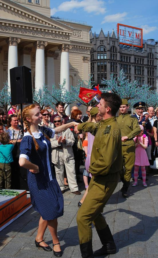 Young actors dance Russian dances royalty free stock photo