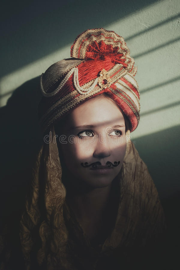 Young actress in the role of an Indian bride stock photography