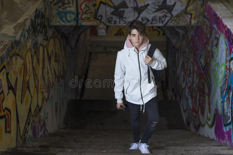 Adolescent student in the city. Young adolescent student in the city stock photography