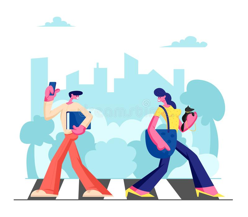 Young Adorable Woman with Dog and Man with Phone Walking along Crosswalk in Big Busy Metropolis, City Dwellers Lifestyle. Hurry at Work or Weekend Spare Time stock illustration