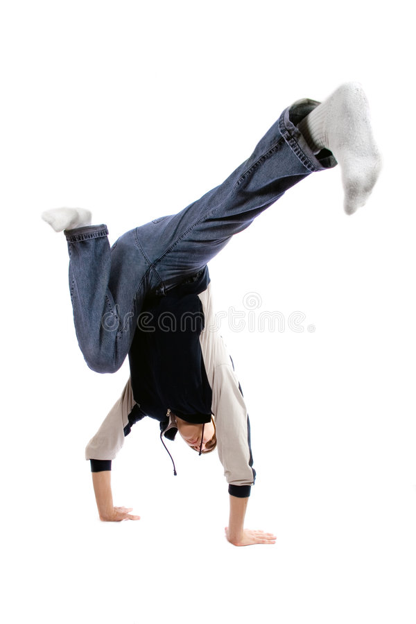 Young adult break dance. Isolated on white royalty free stock photos
