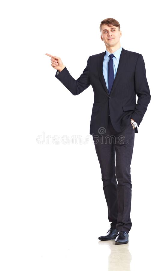 Young adult businessman pointing stock photography