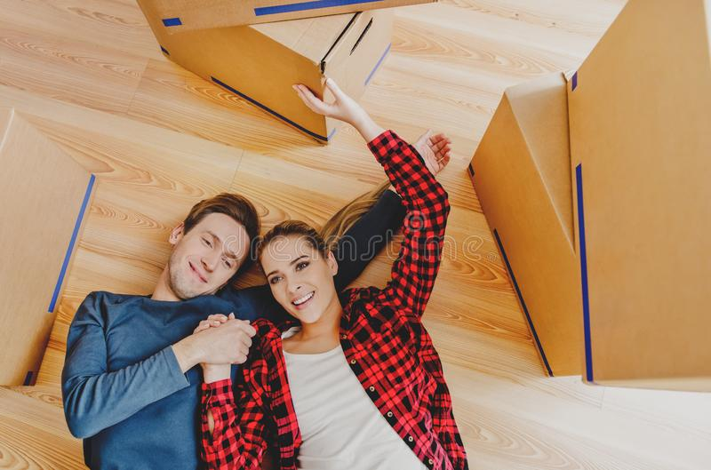 Couple moving in new home royalty free stock photography