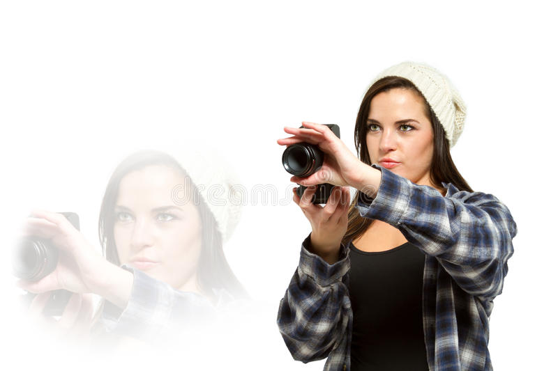 Photographer steadies camera for a picture stock image