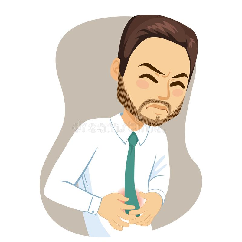 Young Man Suffering Stomachache Pain. Young adult man with hands on belly suffering strong stomachache pain stock illustration