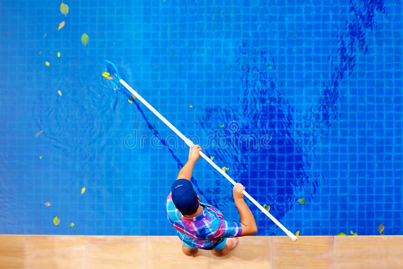 Young adult man, personnel cleaning the pool from leaves royalty free stock images