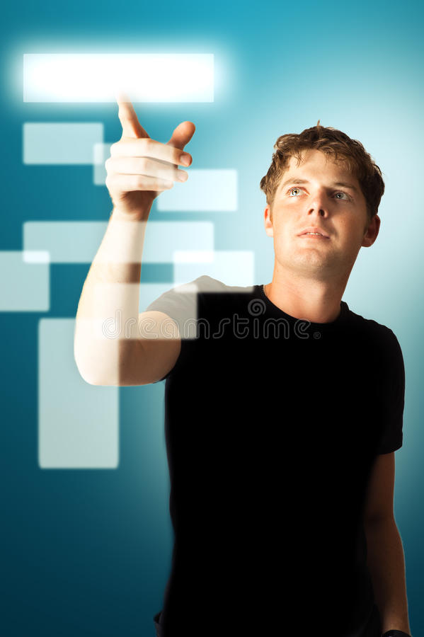 Young Adult Man Pushing Button Royalty Free Stock Photo