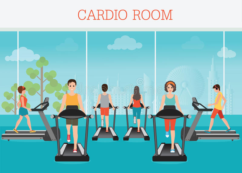 Young adult man and woman running on treadmill in gym interior. Young adult man and woman running on treadmill in gym interior, sport fitness, athletics vector illustration