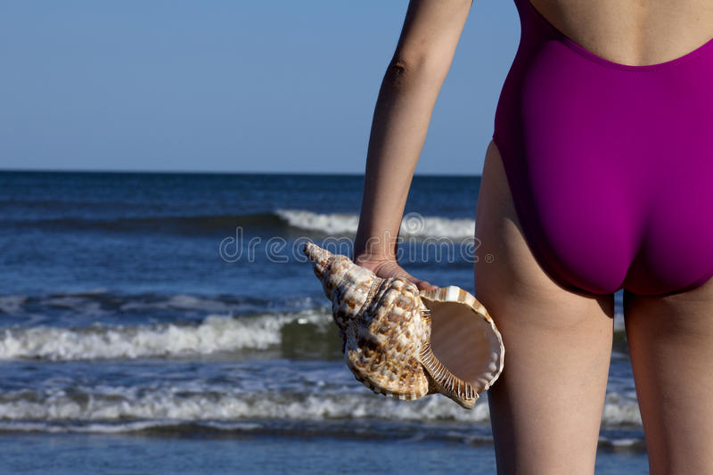 Young adult woman holding a triton seashell royalty free stock images