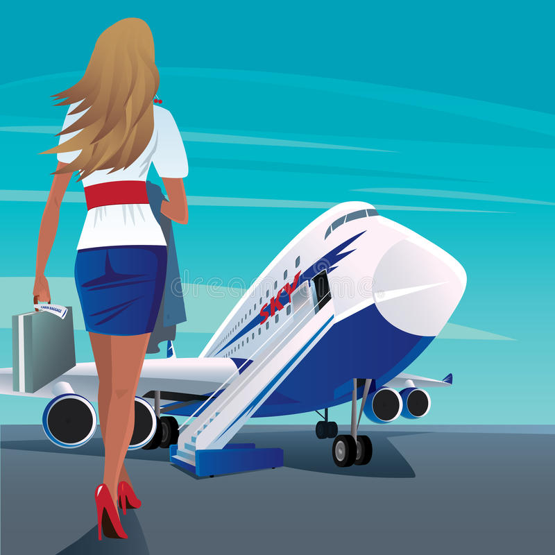 Young adult woman walks to the passenger plane vector illustration