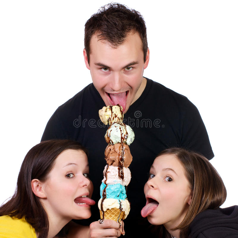 Free Young Adults Enjoying An Ice Cream Tower Royalty Free Stock Photo - 19085915