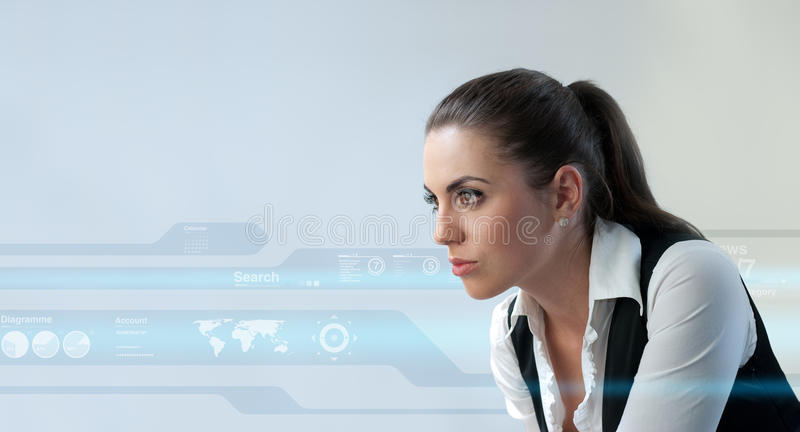 young adults in futuristic interfaces royalty free stock images