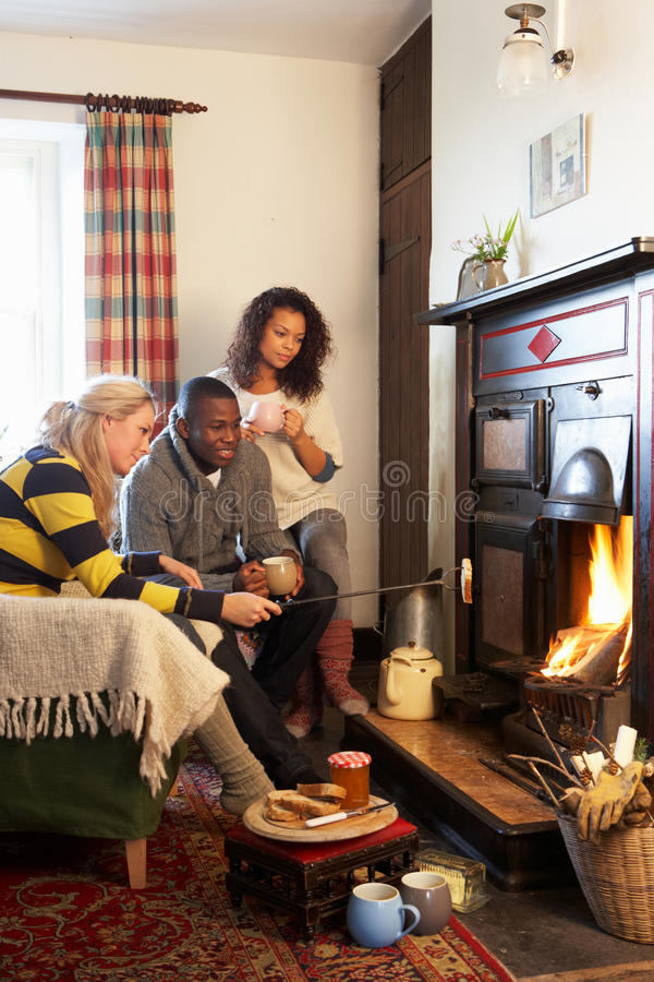 Download Young Adults Making Toast On Open Fire Stock Photo - Image: 21413098