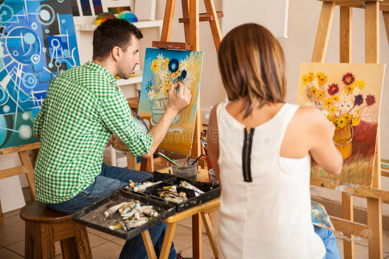 Young Adults Painting At An Art School Stock Photo - Image of ...