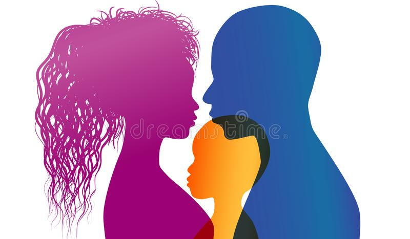 Young African or African-American parents adopt an African or African American child. Adoption. Vector color profile silhouette. Concept of adoption with parents stock illustration