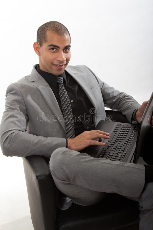 Download Young African American Black Businessman Stock Photo - Image of laptop, american: 28494528