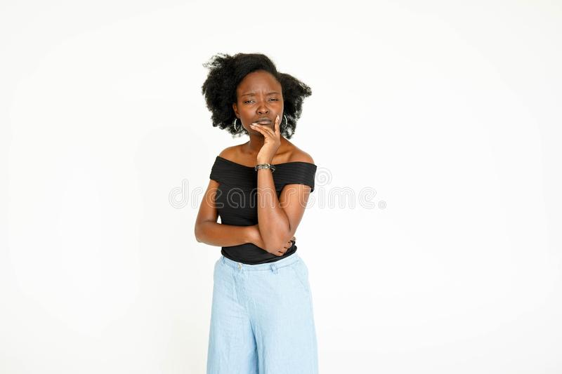 Young African American black woman thinking pose face portrait royalty free stock photos