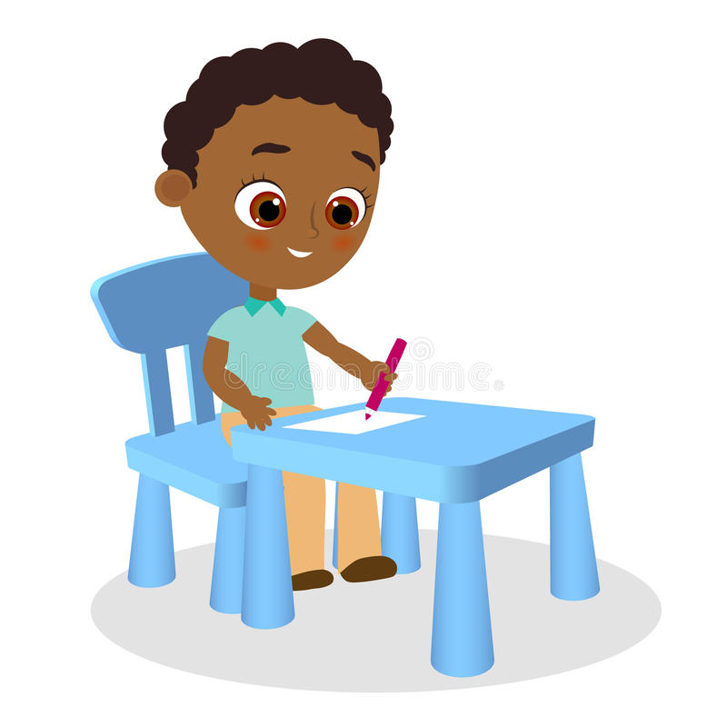 Young african american boy paints sitting at a school desk . Vector illustration eps 10. Flat cartoon style. Young african american boy paints sitting at a vector illustration
