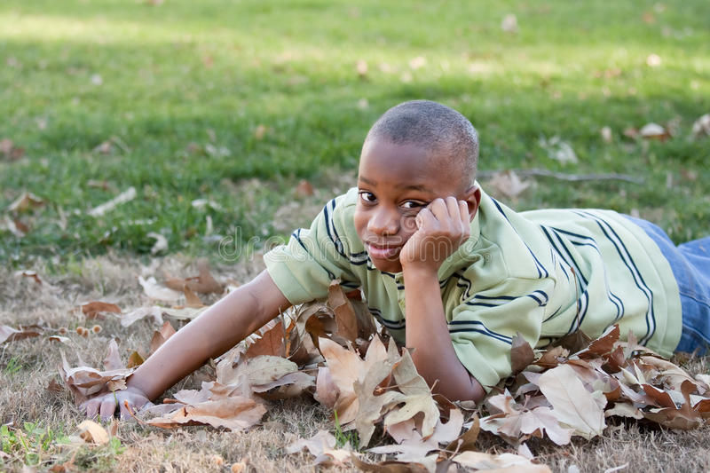 Young African American Boy in the Park stock photos