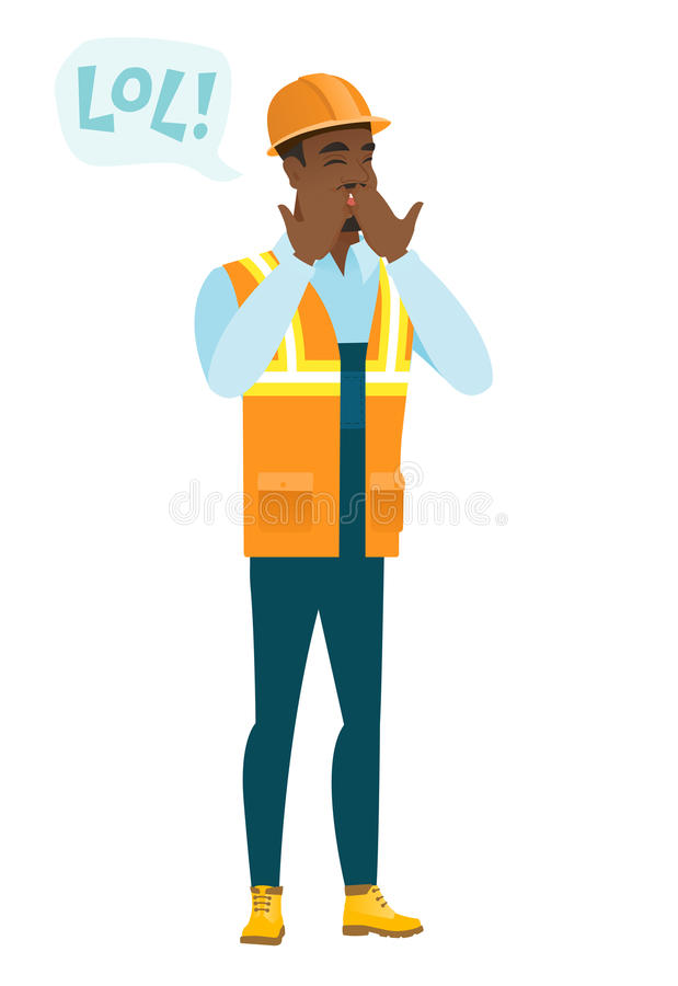 Young african-american builder laughing out loud. Builder and speech bubble with text - lol. Builder laughing out loud and covering mouth. Vector flat design royalty free illustration