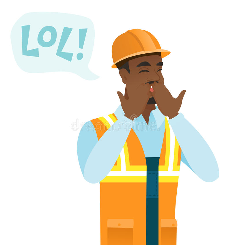 Young african-american builder laughing out loud. Builder and speech bubble with text - lol. Builder laughing out loud and covering mouth. Vector flat design stock illustration