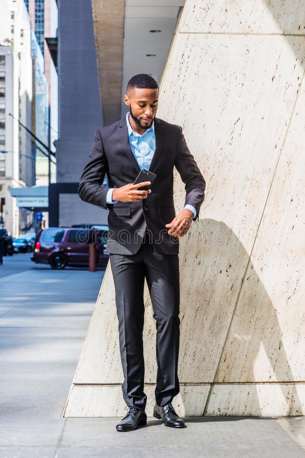 Young African American Businessman thinking outside in New York royalty free stock photography