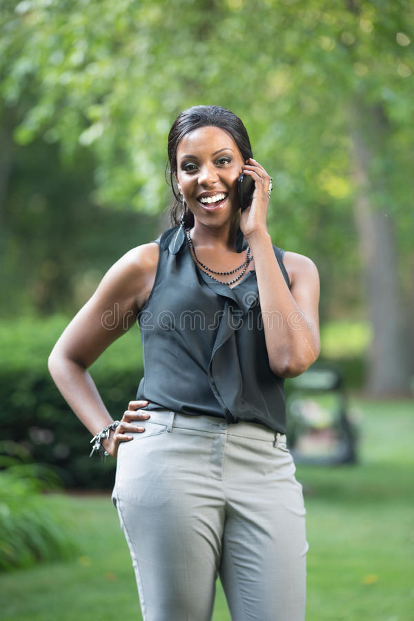 Download Young African American Businesswoman Calling Stock Image - Image: 25764121