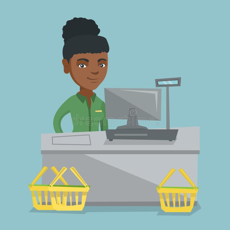 Cashier standing at the checkout in a supermarket. Young african-american cashier standing at the checkout with a cash register in the supermarket. Smiling stock illustration