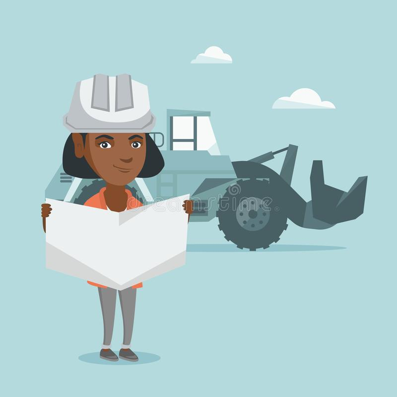 Young african engineer inspecting a blueprint. Young african-american engineer in hard hat inspecting a blueprint. Engineer with engineer blueprint in hands royalty free illustration