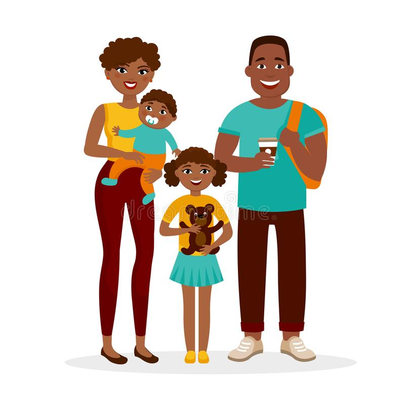 Young African American family standing together isolated on white background. Cheerful parents and children cartoon vector illustration