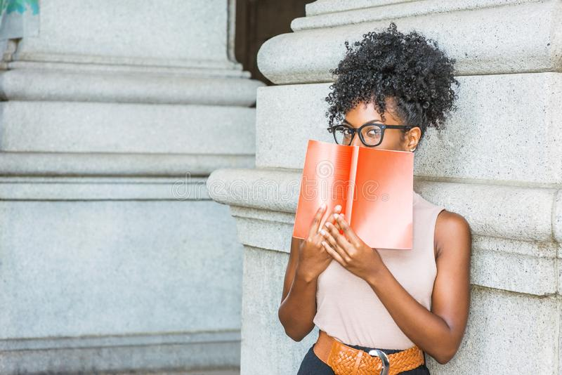 Young African American female college student reading book outsi stock image