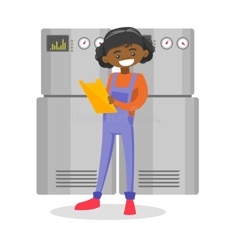 Young african-american technician taking notes. Young african-american female technician taking some notes in her clipboard. Plumber inspecting heating system stock illustration