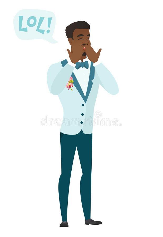 Young african-american groom laughing out loud. Groom and speech bubble with text - lol. Groom laughing out loud and covering his mouth. Vector flat design stock illustration